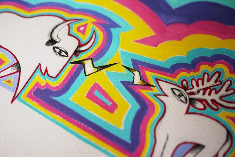 dessin bison-wapiti-détail3