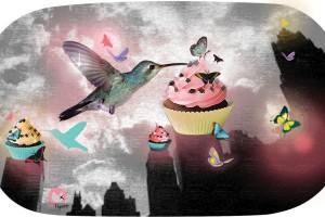 cupcakes et colibri crosshatch