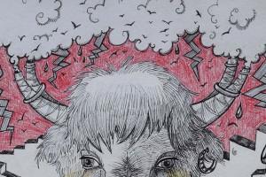 bison au rotring-détail