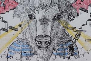 bison au rotring-détail2