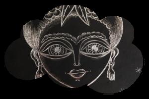 «Frida au faon» – carte à gratter
