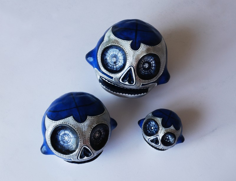 trio blue demon skulls