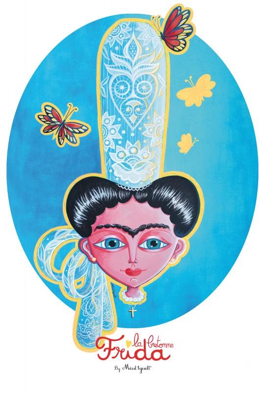 Frida bigoudène RVB 14x16 pouces+contour jaune