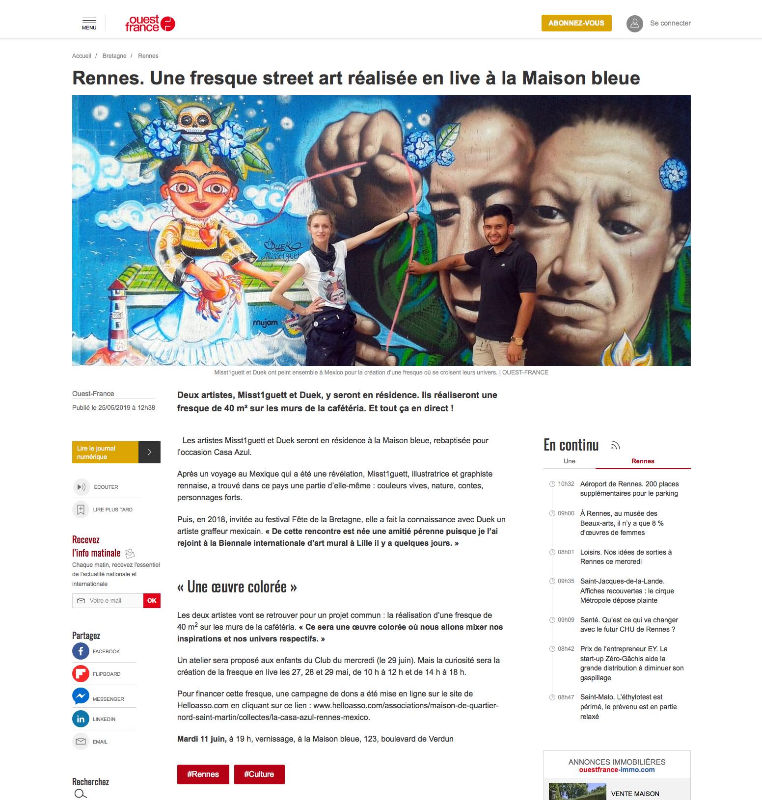 article ouest france mai 2019-casa azul, duek misst1guett